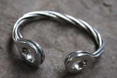 Heavy Twin Torc Bangle in Pewter